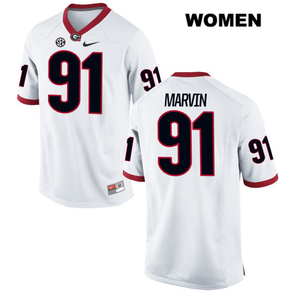 Womens Georgia Bulldogs Nike White David Marvin Stitched Authentic no. 91 College Football Jersey - David Marvin Jersey