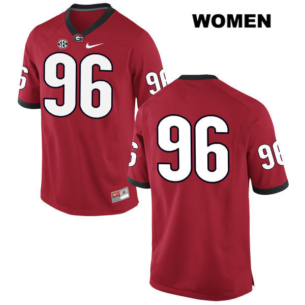 Womens Georgia Bulldogs Red Hudson Reynolds Stitched Authentic Nike no. 96 College Football Jersey - No Name - Hudson Reynolds Jersey