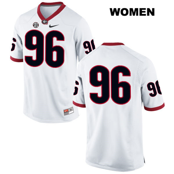 Womens Stitched Georgia Bulldogs Nike White Hudson Reynolds Authentic no. 96 College Football Jersey - No Name - Hudson Reynolds Jersey