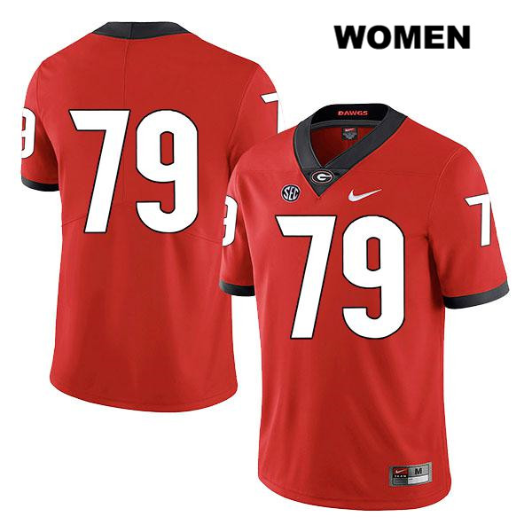 Womens Georgia Bulldogs Stitched Legend Red Isaiah Wilson Authentic Nike no. 79 College Football Jersey - No Name