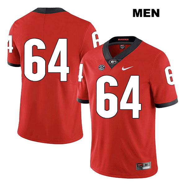 Mens Stitched Georgia Bulldogs Nike Red JC Vega Authentic Legend no. 64 College Football Jersey - No Name - JC Vega Jersey