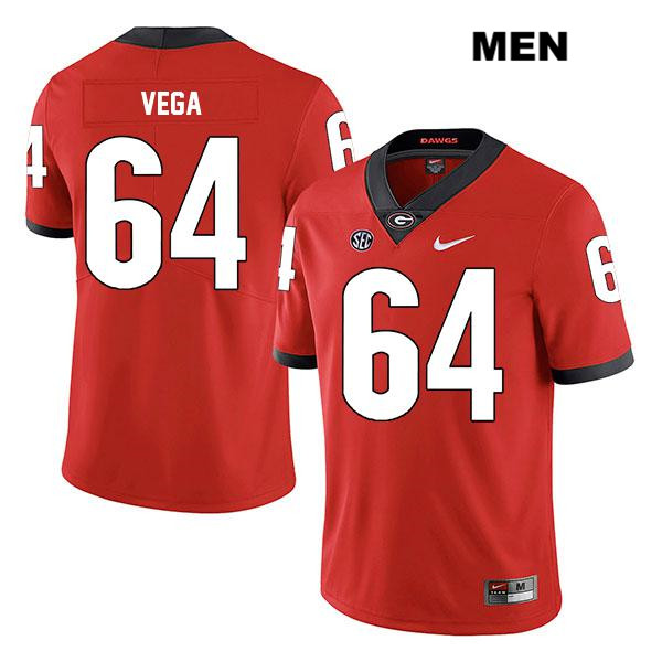 Mens Nike Georgia Bulldogs Red JC Vega Stitched Authentic Legend no. 64 College Football Jersey - JC Vega Jersey
