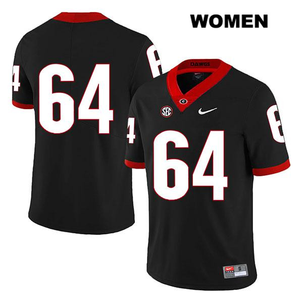 Stitched Womens Georgia Bulldogs Legend Black Nike JC Vega Authentic no. 64 College Football Jersey - No Name - JC Vega Jersey