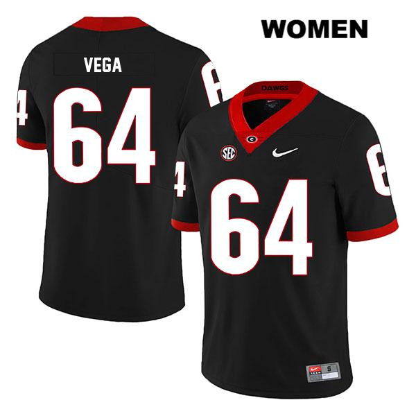 Womens Stitched Georgia Bulldogs Black JC Vega Legend Nike Authentic no. 64 College Football Jersey - JC Vega Jersey