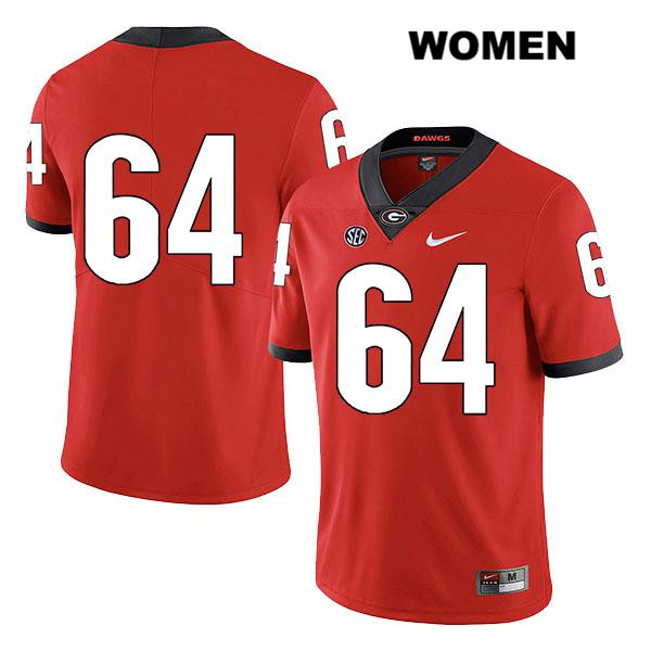 Womens Georgia Bulldogs Nike Red JC Vega Authentic Legend Stitched no. 64 College Football Jersey - No Name - JC Vega Jersey