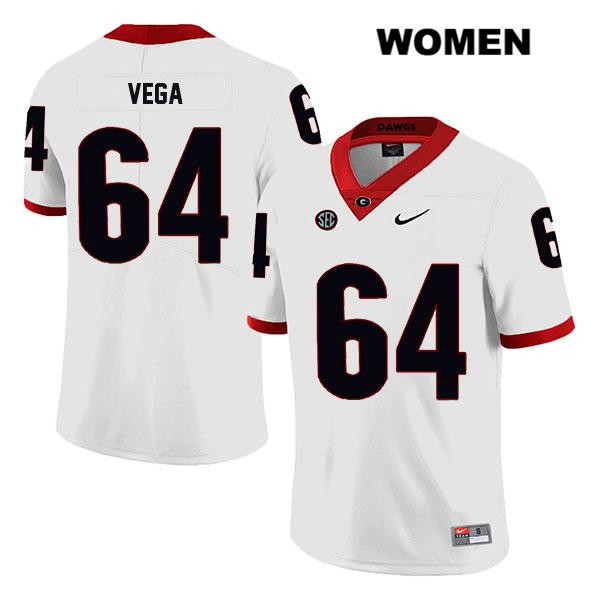 Nike Womens Legend Georgia Bulldogs White Stitched JC Vega Authentic no. 64 College Football Jersey - JC Vega Jersey