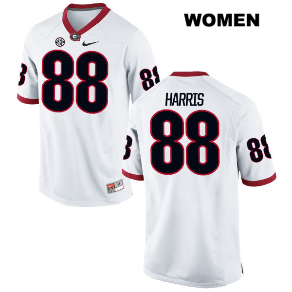 Womens Georgia Bulldogs White Stitched Jackson Harris Authentic Nike no. 88 College Football Jersey - Jackson Harris Jersey