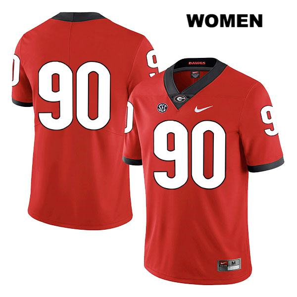 Womens Georgia Bulldogs Legend Red Nike Jake Camarda Stitched Authentic no. 90 College Football Jersey - No Name