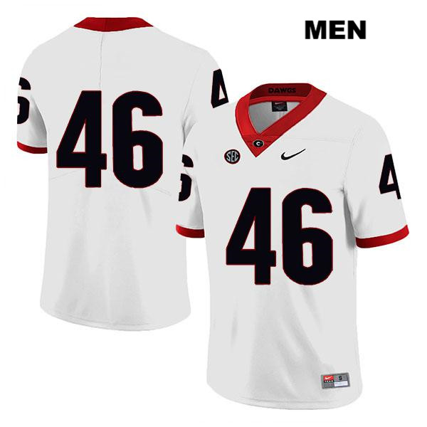 Stitched Mens Nike Georgia Bulldogs White Legend Jake Wilson Authentic no. 46 College Football Jersey - No Name - Jake Wilson Jersey