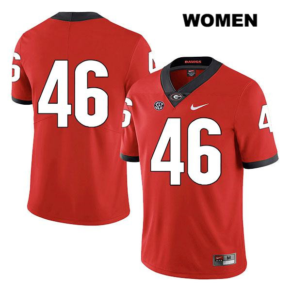Nike Womens Georgia Bulldogs Red Stitched Jake Wilson Legend Authentic no. 46 College Football Jersey - No Name - Jake Wilson Jersey