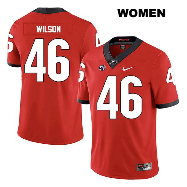 Womens Georgia Bulldogs Nike Red Legend Jake Wilson Stitched Authentic no. 46 College Football Jersey - Jake Wilson Jersey