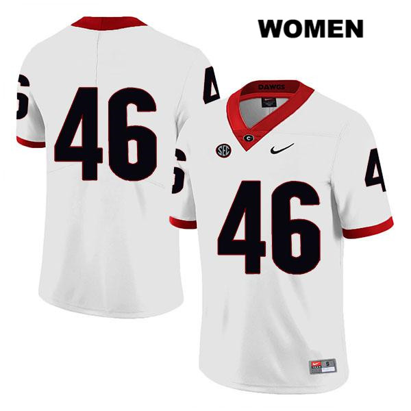 Womens Stitched Georgia Bulldogs White Jake Wilson Nike Authentic Legend no. 46 College Football Jersey - No Name - Jake Wilson Jersey