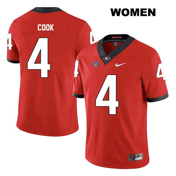 Womens Nike Georgia Bulldogs Stitched Red Legend James Cook Authentic no. 4 College Football Jersey