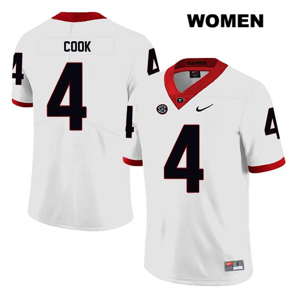 Nike Womens Stitched Georgia Bulldogs White James Cook Authentic Legend no. 4 College Football Jersey