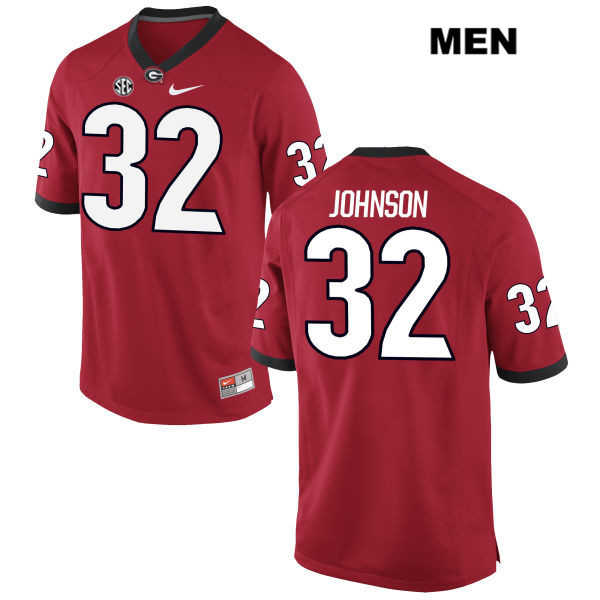 Stitched Mens Georgia Bulldogs Red Jaylen Johnson Authentic Nike no. 32 College Football Jersey - Jaylen Johnson Jersey