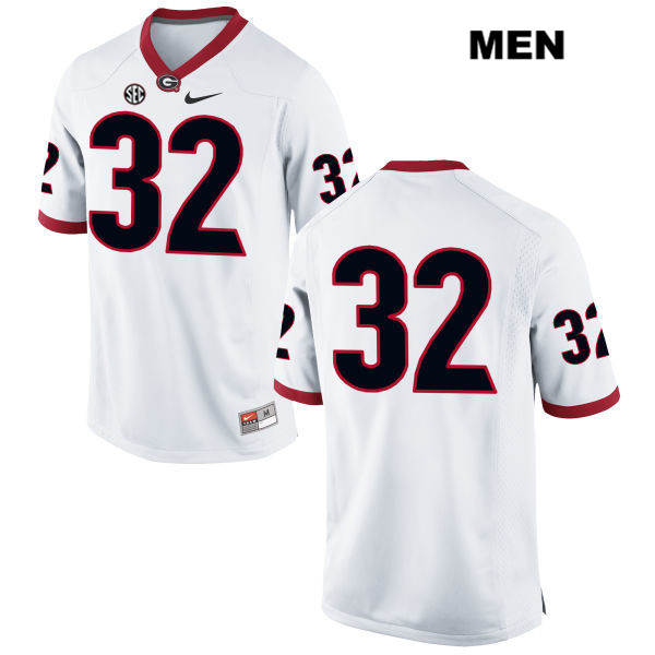 Mens Georgia Bulldogs Nike White Jaylen Johnson Authentic Stitched no. 32 College Football Jersey - No Name - Jaylen Johnson Jersey