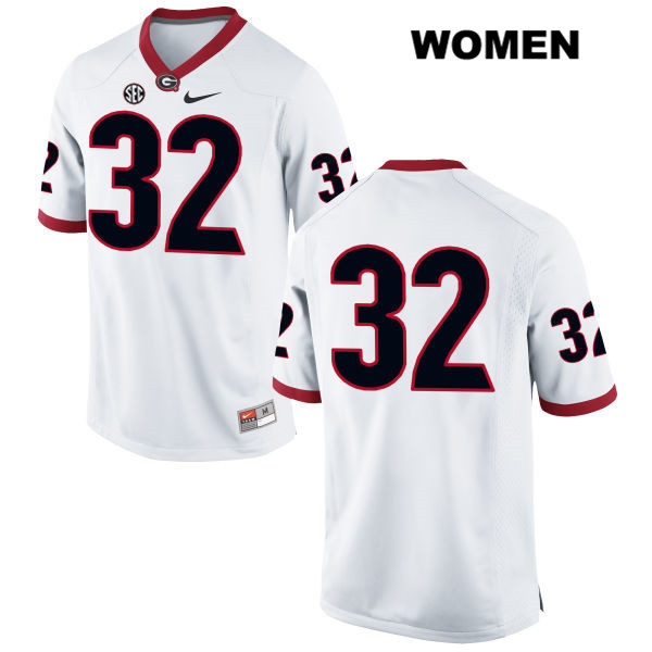 Womens Georgia Bulldogs White Nike Jaylen Johnson Stitched Authentic no. 32 College Football Jersey - No Name - Jaylen Johnson Jersey