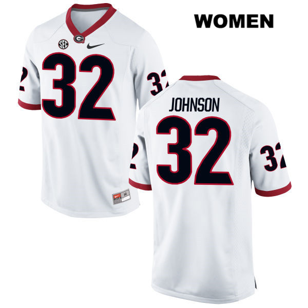 Womens Georgia Bulldogs Nike White Stitched Jaylen Johnson Authentic no. 32 College Football Jersey - Jaylen Johnson Jersey