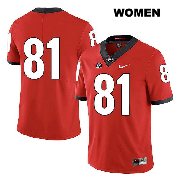 Womens Georgia Bulldogs Red Jaylen Johnson Legend Authentic Stitched Nike no. 81 College Football Jersey - No Name - Jaylen Johnson Jersey