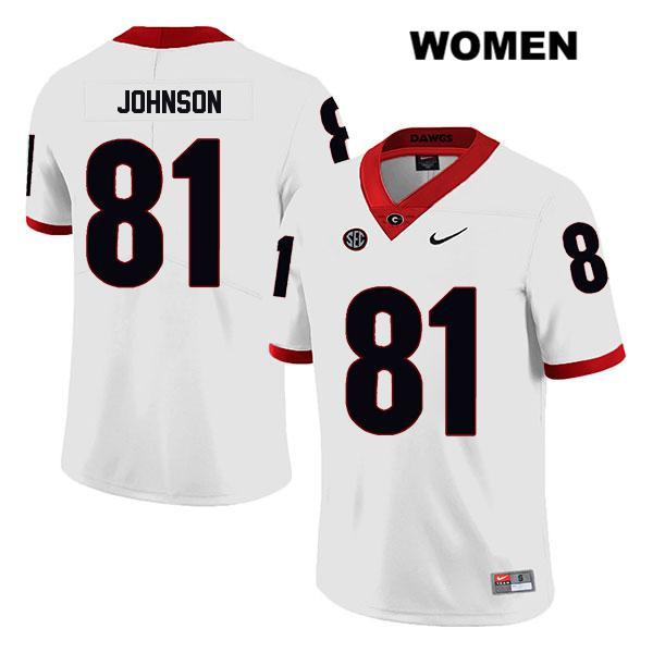 Womens Georgia Bulldogs Legend White Jaylen Johnson Stitched Authentic Nike no. 81 College Football Jersey - Jaylen Johnson Jersey