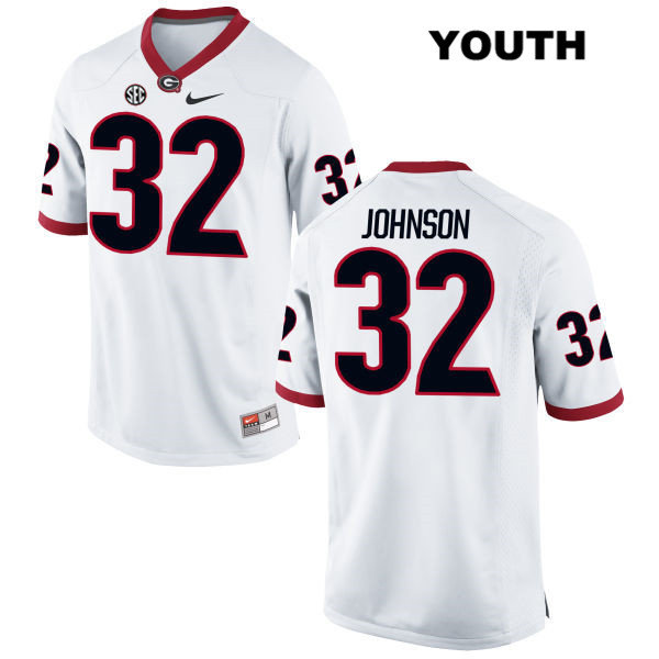 Youth Georgia Bulldogs Stitched White Jaylen Johnson Authentic Nike no. 32 College Football Jersey - Jaylen Johnson Jersey
