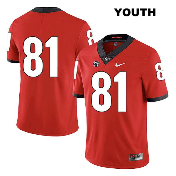 Youth Legend Georgia Bulldogs Stitched Red Jaylen Johnson Nike Authentic no. 81 College Football Jersey - No Name - Jaylen Johnson Jersey
