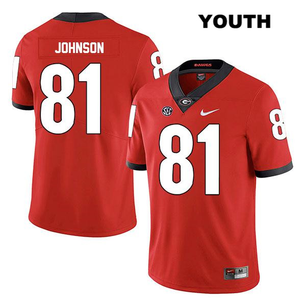 Youth Legend Georgia Bulldogs Nike Red Jaylen Johnson Authentic Stitched no. 81 College Football Jersey - Jaylen Johnson Jersey