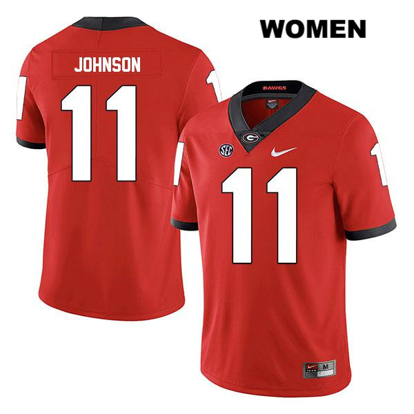 Womens Legend Georgia Bulldogs Red Jermaine Johnson Nike Authentic Stitched no. 11 College Football Jersey - Jermaine Johnson Jersey