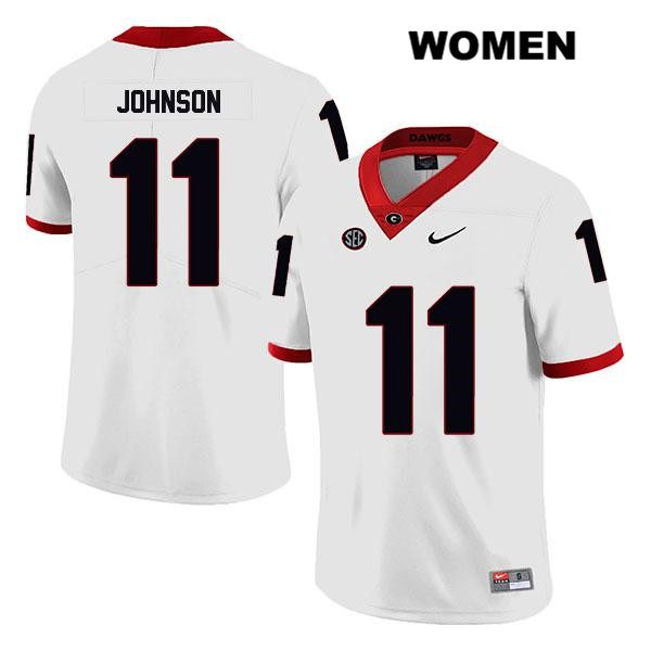 Legend Womens Georgia Bulldogs White Stitched Jermaine Johnson Nike Authentic no. 11 College Football Jersey - Jermaine Johnson Jersey