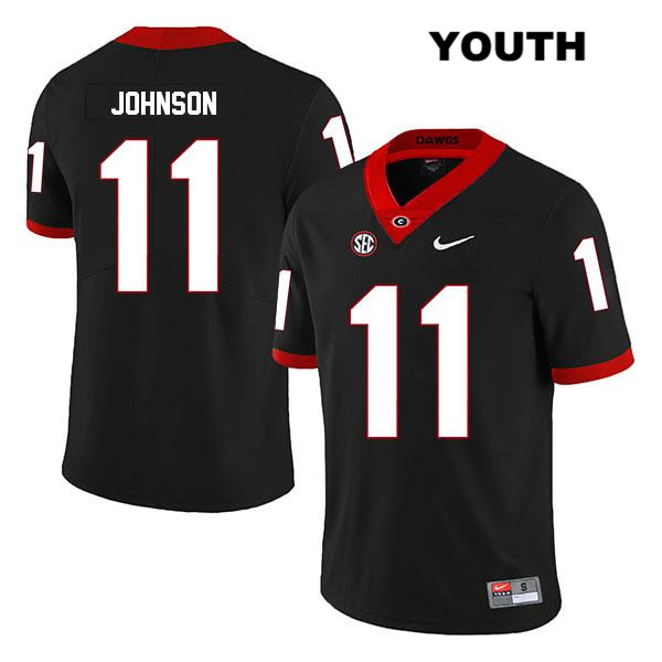 Youth Georgia Bulldogs Nike Black Legend Jermaine Johnson Authentic Stitched no. 11 College Football Jersey - Jermaine Johnson Jersey