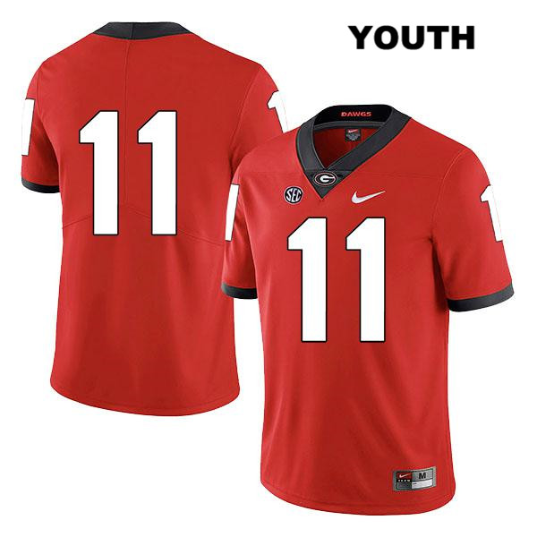 Youth Georgia Bulldogs Red Legend Jermaine Johnson Nike Stitched Authentic no. 11 College Football Jersey - No Name - Jermaine Johnson Jersey
