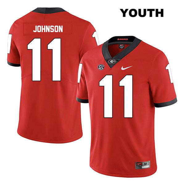Youth Legend Georgia Bulldogs Stitched Red Jermaine Johnson Authentic Nike no. 11 College Football Jersey - Jermaine Johnson Jersey