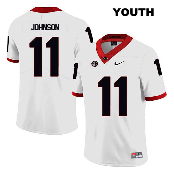 Youth Legend Georgia Bulldogs White Stitched Nike Jermaine Johnson Authentic no. 11 College Football Jersey - Jermaine Johnson Jersey