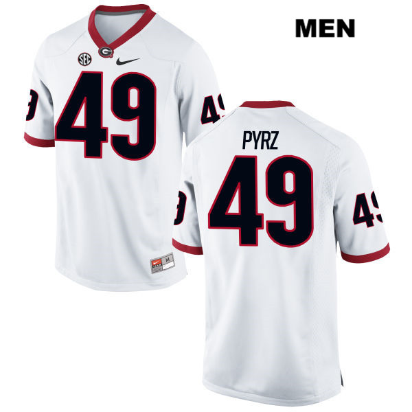Mens Georgia Bulldogs White Nike Koby Pyrz Stitched Authentic no. 49 College Football Jersey - Koby Pyrz Jersey
