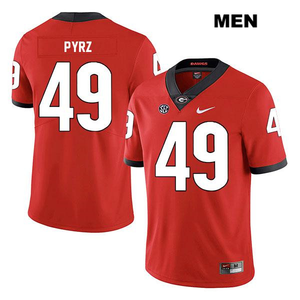 Mens Georgia Bulldogs Red Stitched Koby Pyrz Authentic Nike Legend no. 49 College Football Jersey - Koby Pyrz Jersey