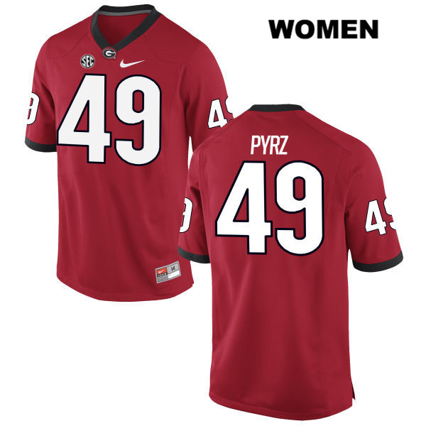 Womens Georgia Bulldogs Stitched Red Koby Pyrz Authentic Nike no. 49 College Football Jersey - Koby Pyrz Jersey