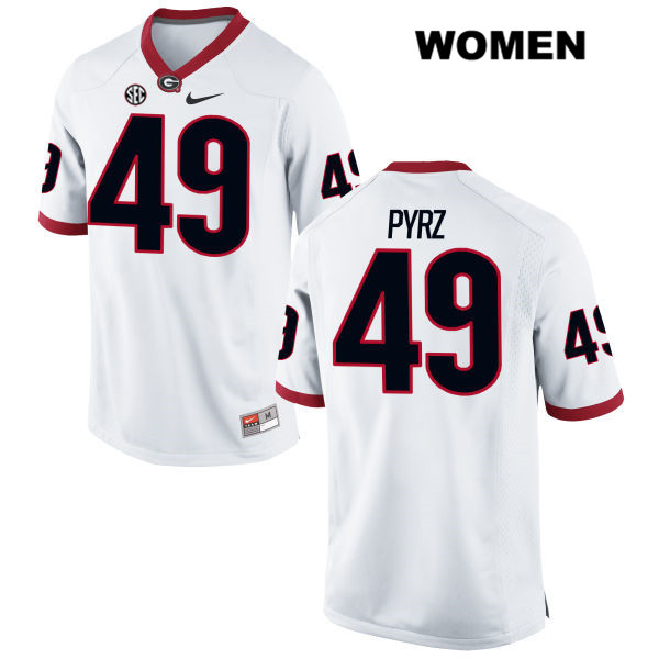 Womens Nike Georgia Bulldogs White Stitched Koby Pyrz Authentic no. 49 College Football Jersey - Koby Pyrz Jersey