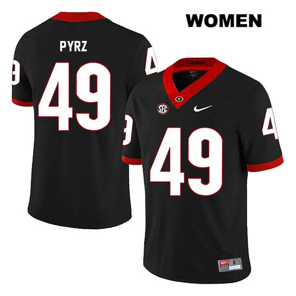 Womens Georgia Bulldogs Stitched Black Legend Koby Pyrz Nike Authentic no. 49 College Football Jersey - Koby Pyrz Jersey