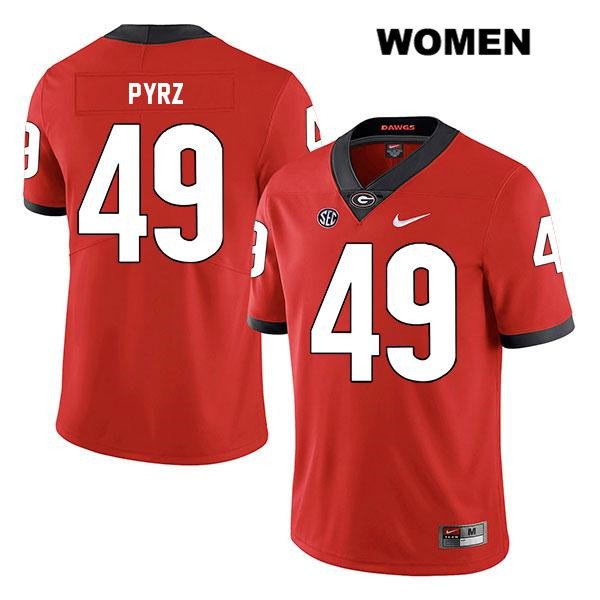 Womens Nike Georgia Bulldogs Red Koby Pyrz Legend Authentic Stitched no. 49 College Football Jersey - Koby Pyrz Jersey