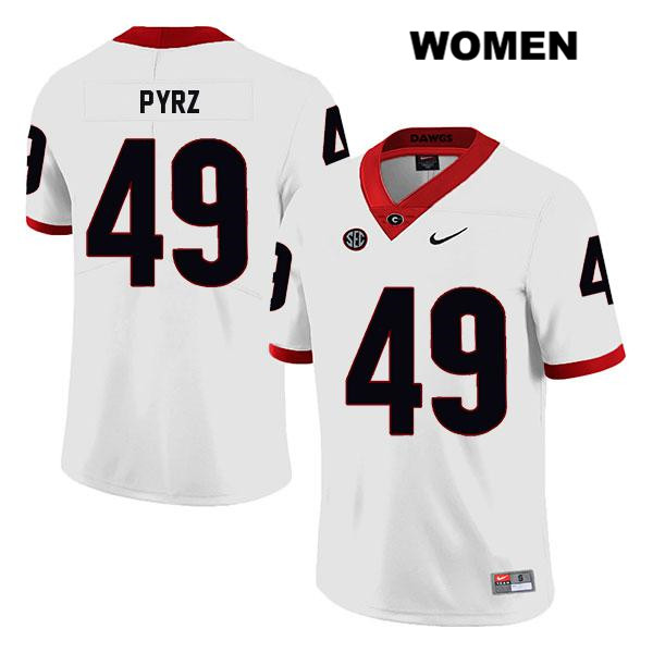 Stitched Womens Legend Georgia Bulldogs Nike White Koby Pyrz Authentic no. 49 College Football Jersey - Koby Pyrz Jersey