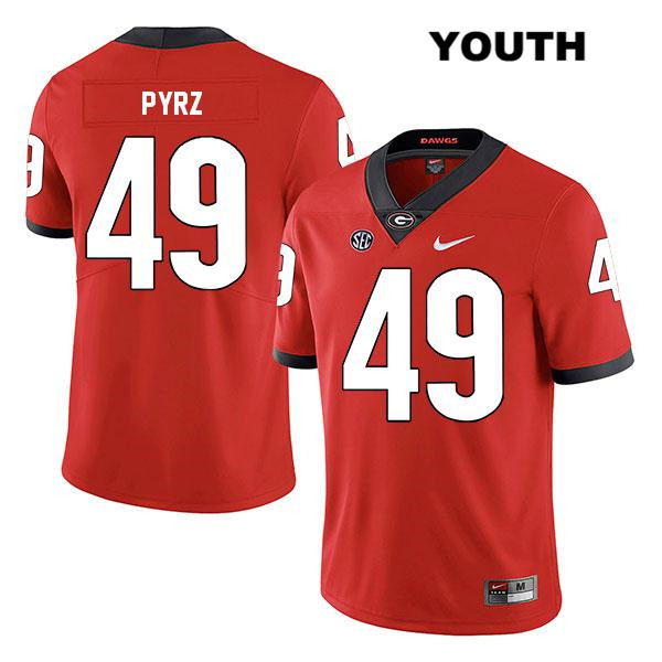 Legend Youth Georgia Bulldogs Red Stitched Koby Pyrz Authentic Nike no. 49 College Football Jersey - Koby Pyrz Jersey