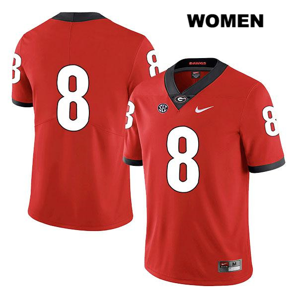 Womens Georgia Bulldogs Red Stitched Nike Lewis Cine Legend Authentic no. 8 College Football Jersey - No Name - Lewis Cine Jersey