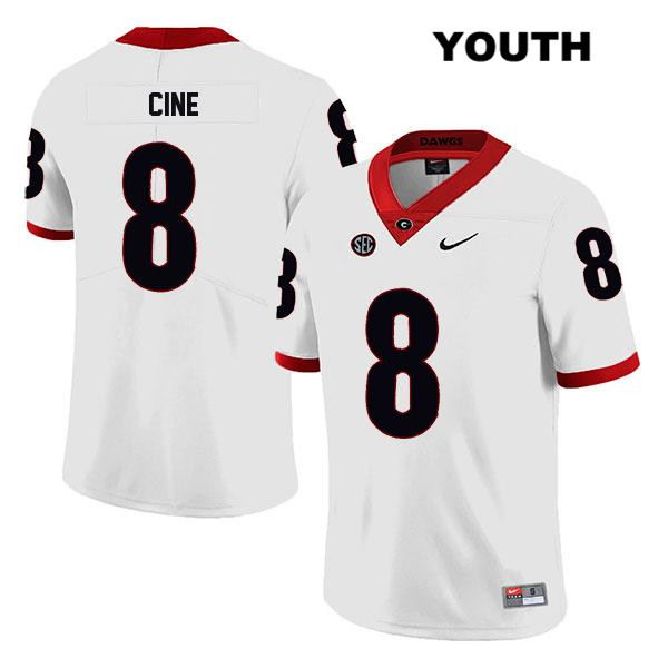Legend Youth Georgia Bulldogs White Nike Lewis Cine Stitched Authentic no. 8 College Football Jersey - Lewis Cine Jersey