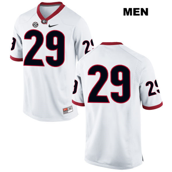Mens Stitched Georgia Bulldogs White Lucas Stone Nike Authentic no. 29 College Football Jersey - No Name - Lucas Stone Jersey