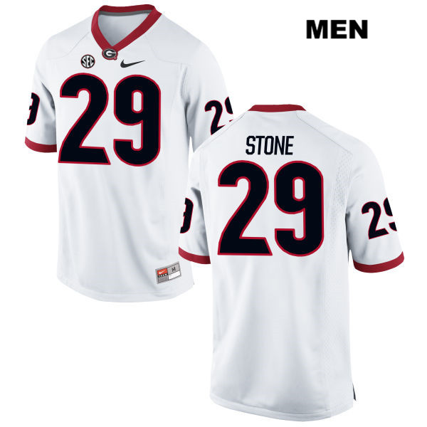 Mens Georgia Bulldogs White Nike Lucas Stone Stitched Authentic no. 29 College Football Jersey - Lucas Stone Jersey