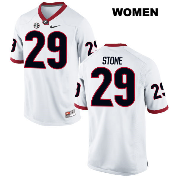 Womens Stitched Nike Georgia Bulldogs White Lucas Stone Authentic no. 29 College Football Jersey - Lucas Stone Jersey