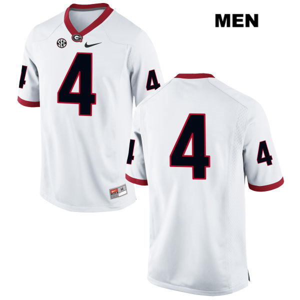 Nike Mens Georgia Bulldogs White Mecole Hardman Stitched Authentic no. 4 College Football Jersey - No Name - Mecole Hardman Jersey