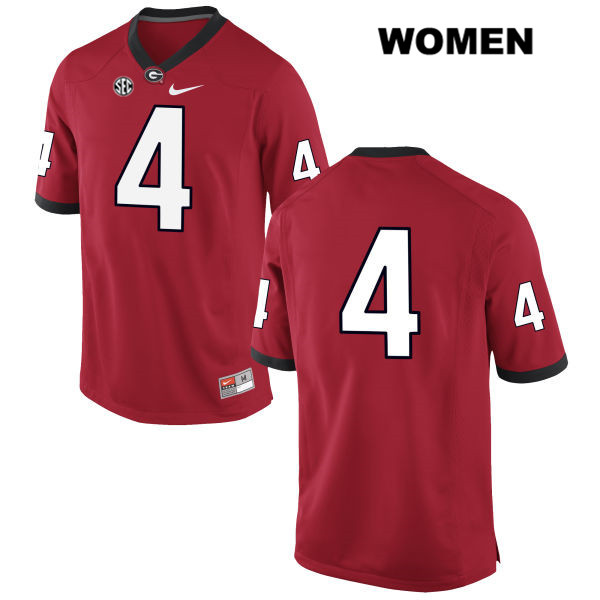 Nike Womens Georgia Bulldogs Red Stitched Mecole Hardman Authentic no. 4 College Football Jersey - No Name - Mecole Hardman Jersey