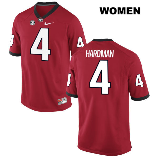 Womens Nike Georgia Bulldogs Red Mecole Hardman Stitched Authentic no. 4 College Football Jersey - Mecole Hardman Jersey
