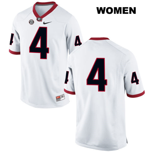 Womens Georgia Bulldogs White Mecole Hardman Nike Authentic Stitched no. 4 College Football Jersey - No Name - Mecole Hardman Jersey
